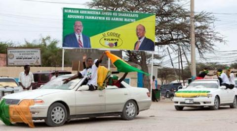 supporters of the Kulmiye party drive through Hargeisa