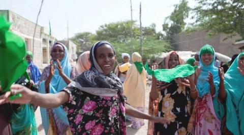 Somalilanders gather in a street