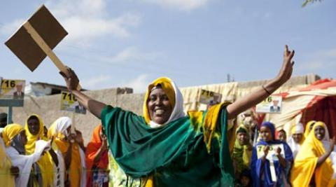 Woman campaigning in Somaliland