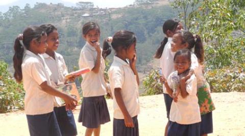 School girls in a rural area of Timor-Leste