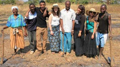 Volunteers with Chief Bandu, his mother and another villager