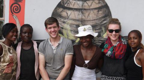 Peter with community members in Zimbabwe