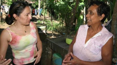 Two women talking in Nicaragua