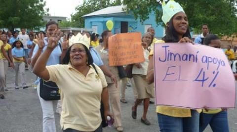 Women demonstrate in Jimani in Dominican Republic