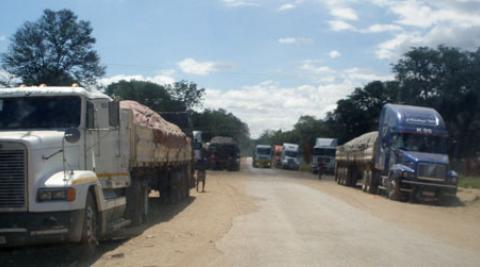 Trucks at the Chirundu border post Zimbabwe