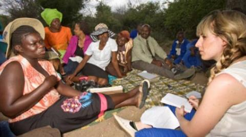 Women in Zimbabwe speaking to Pamela