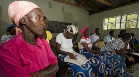Women at a meeting at Kariyangwe in Zimbabwe