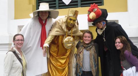 Empower volunteers with participants in a parade in Lima Peru