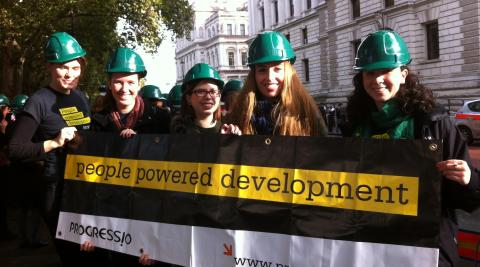 Team Progressio at the 'Green is working' demonstration.