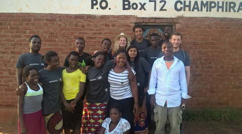 The team with members of Champhira Youth Club