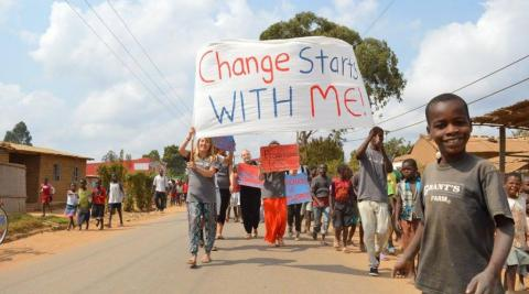 ICS volunteers in Malawi at a rally to promote gender equality