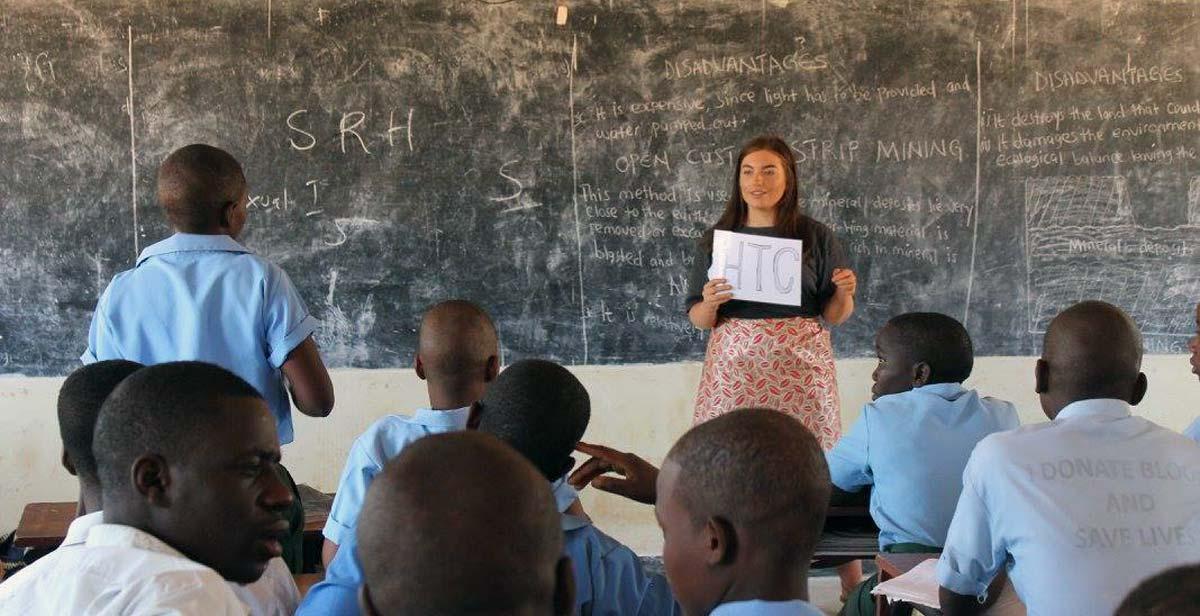 Tara teaching about HIV and AIDS