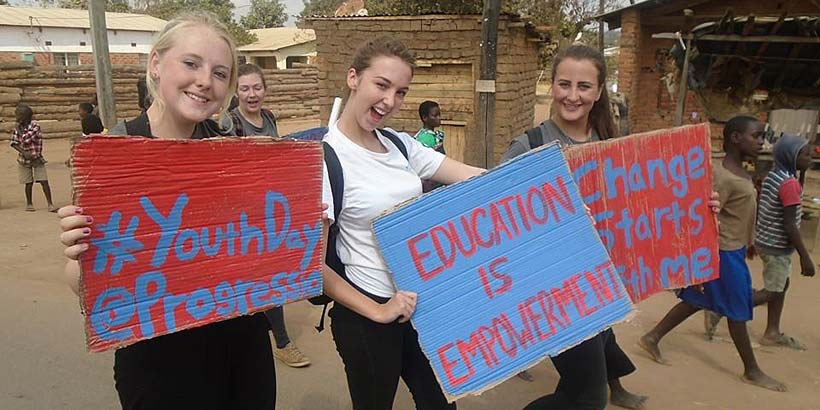 Abby, Emily and Sally taking part in the International Youth Day celebrations in Mzuzu