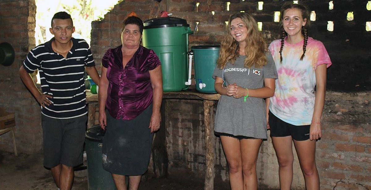 A family with their new water filter