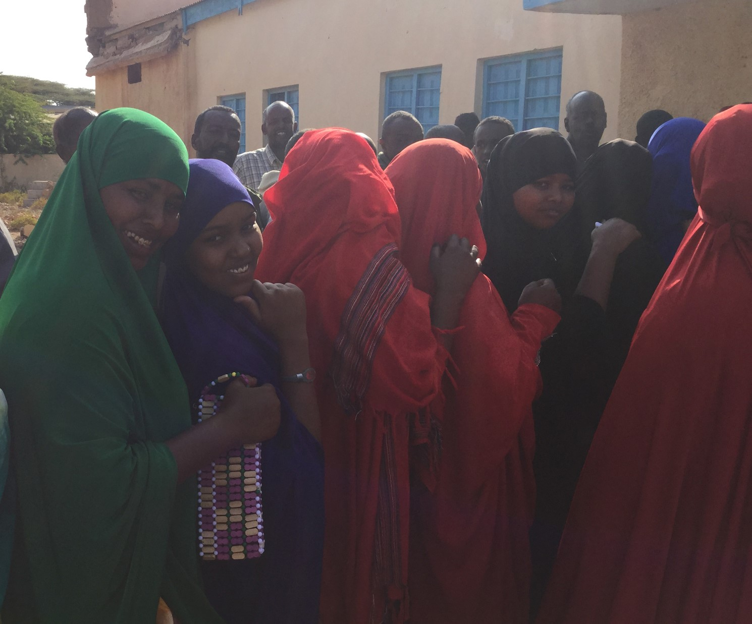 Young women queue to register their vote in Hargeisa, Somaliland