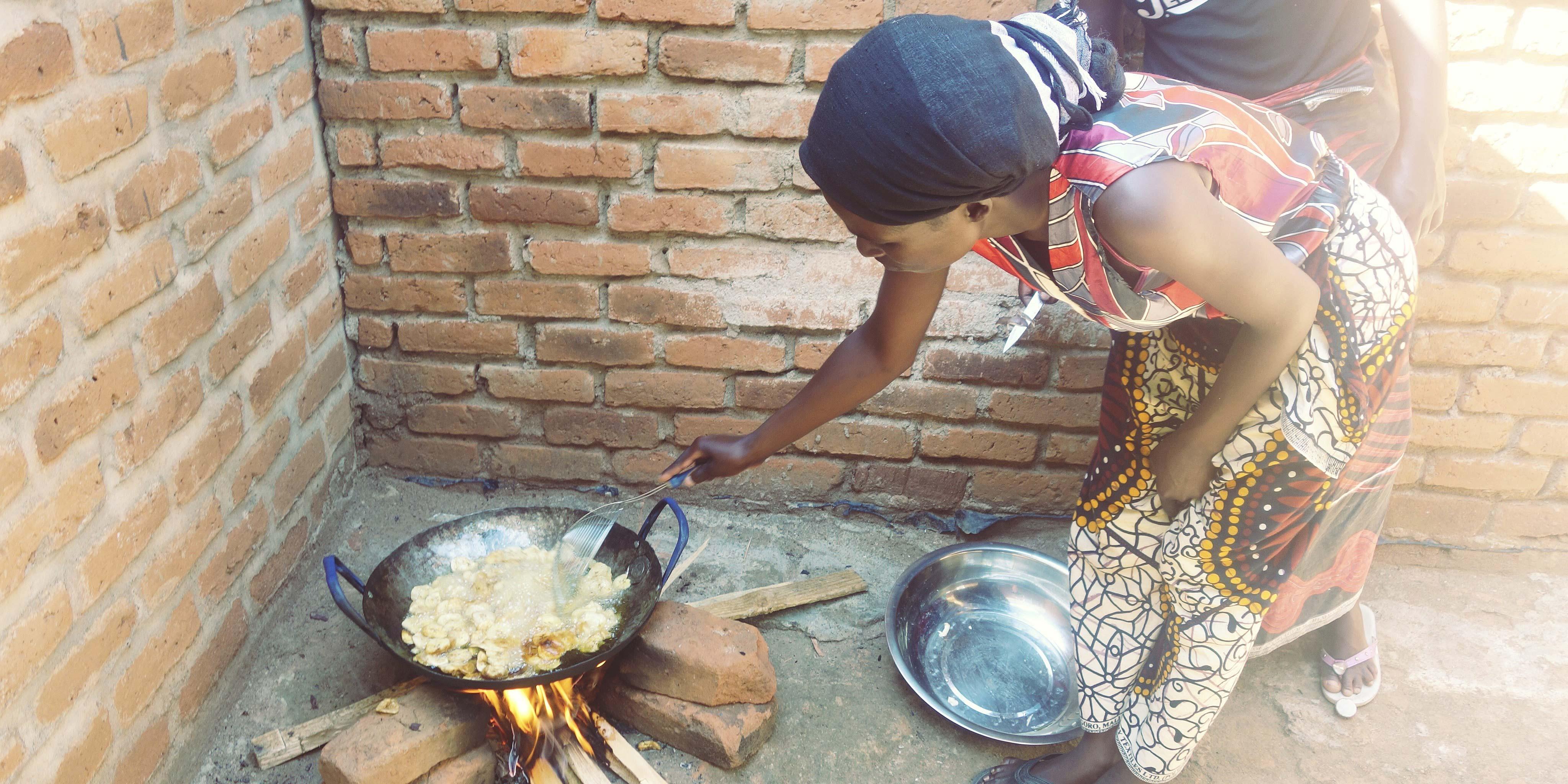 Faith preparing potato crisps